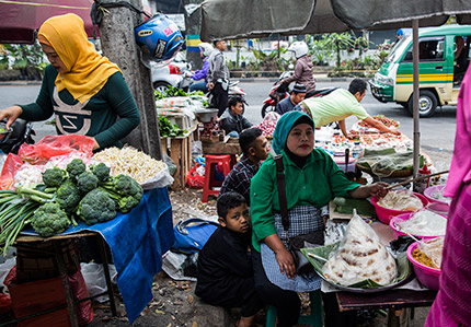 Street food vendors in Bandung, Indonesia, whose livelihoods are at risk from exclusionary local government policies