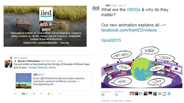 IIED uses Twitter to share research and engage with people online (Image: IIED)