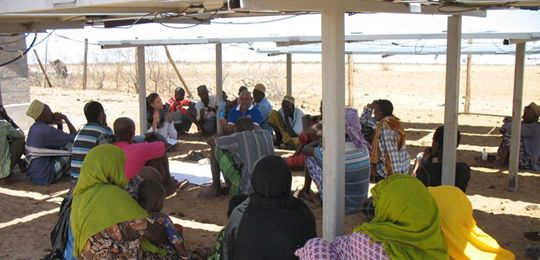 A community discusses water and energy challenges in Alango, Kenya (Photo: Ibrahim Jarso, Resource Advocacy Program)