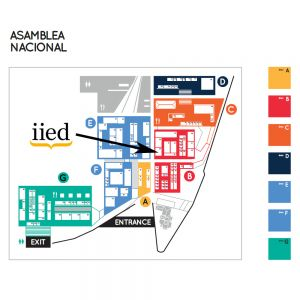 A map showing the location of IIED's exhibition stand at Habitat III