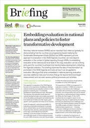 Embedding evaluation in national plans and policies to foster transformative development