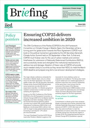 Ensuring COP25 delivers increased ambition in 2020