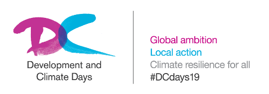 Logo for D&C Days 2019, strapline reads Global ambition, Local action, Climate resistance for all #DCdays19