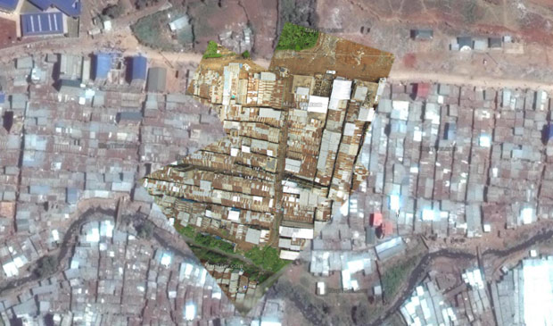 Georeferencing aerial images allows them to be combined with other maps. Here are aerial images from Mathare shown on a Google Map