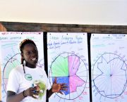 CANARI's Radar tool helps small and micro enterprises assess their impacts. Here Kemba Jaramogi from Fondes Amandes Community Reforestation Project in Trinidad and Tobago presents their Radar. (Photo: CANARI)