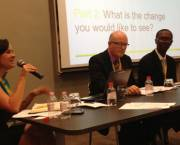 A panel discusses artisanal and small-scale mining at the Mining Indaba in Cape Town (Photo: Abbi Buxton/IIED)