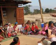 Women discuss forest management at a Community Forest User Group meeting in Nepal.