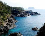 The rugged coastline of Jeju Island, South Korea, where the World Conservation Congress is being held.