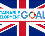 The UK flag and the logo for the Sustainable Development Goals