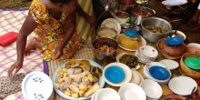 A buffet of Ugandan food
