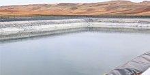 A reservoir in a desert landscape