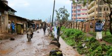 A flooded street in an informal settlement