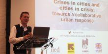 David Dodman, director of IIED's Human Settlements research group, addresses the conference on urban crises (Photo: Matt Wright/IIED)