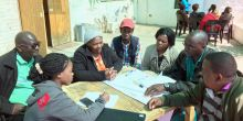 Community leaders in the Shack Dwellers Federation of Namibia planning with staff from the Namibia Housing Action Group (Photo: Diana Mitlin/IIED)