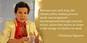 "Christiana Figueres is executive secretary of the United Nations Framework Convention on Climate Change. She used her appearance at the 2012 Barbara Ward Lecture to call for an ""energy revolution"""