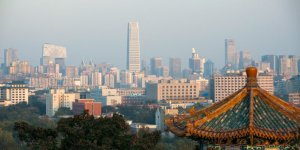 Beijing CBD skyline with Pagoda