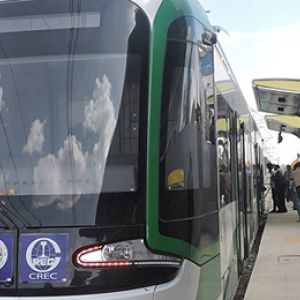 An image of the front of a stationary train on the Addis Ababa light rail system, which opened in 2015, and was the first to be built in Sub-Saharan Africa. The two railway lines, which have their own dedicated power grid, demonstrate how Ethiopia is seeking low-carbon energy initiatives (Photo: Wikipedia, via Google licence)