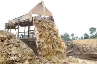 Water falling from machine
