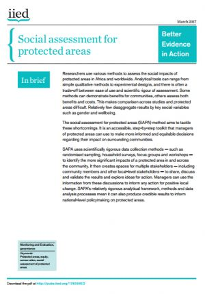 Social assessment for protected areas