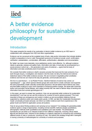 A better evidence philosophy for sustainable development
