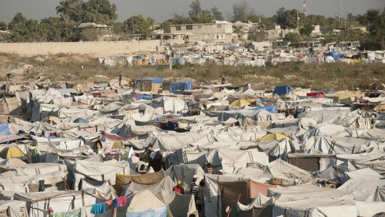 A number of informal tents forming a village
