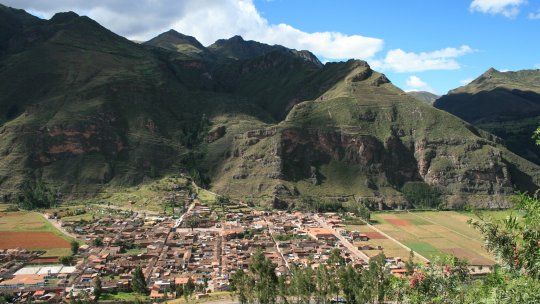 View of the town of Pisaq in Peru, near the Potato Park Biocultural Heritage Territory