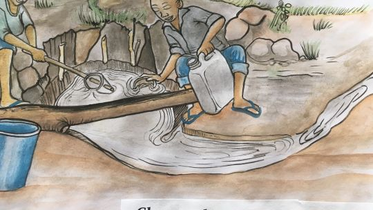 Workshop illustration showing people getting water from a stream (Image: Abdul-Aziz Mkilalu)
