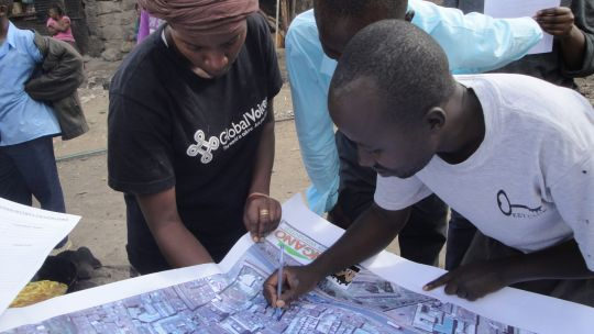 Community-led mapping in the informal settlement of Mathare in Nairobi, Kenya, helps to record and reflect local people's needs and priorities (Photo: Sohel Ahmed)