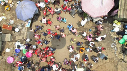 An overhead view of people outside