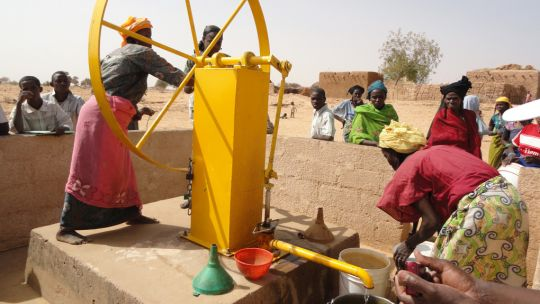 Example of Volanta pump in use - note pump parts external to mounting - Niger