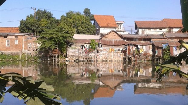 Riverside settlement in Surabaya, Indonesia.