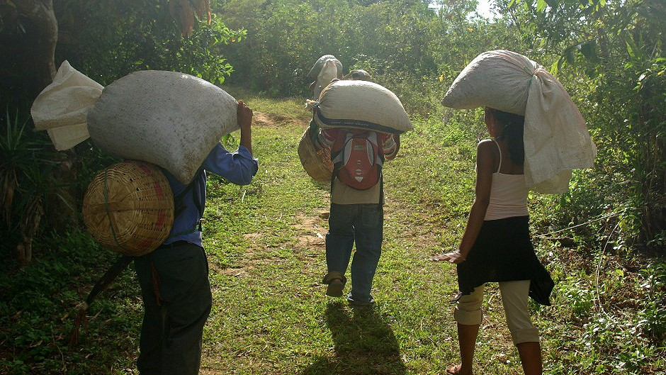 Three people walking and carrying bags on their backs.